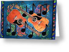Guitars - Bordered Greeting Card by Sue Duda
