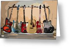Guitars On A Rack Greeting Card by Arline Wagner
