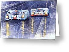 Gulf-porsche 917 K Spa Francorchamps 1970 Greeting Card by Yuriy  Shevchuk