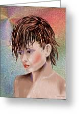 Hairstyle Of Colors Greeting Card by Arline Wagner