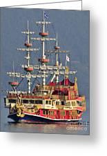 Hakone Sightseeing Cruise Ship Sailing On Lake Ashi Hakone Japan Greeting Card by Andy Smy