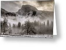 Half Dome In Winter Greeting Card by Connie Cooper-Edwards