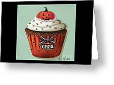 Halloween Pumpkin Cupcake Greeting Card by Catherine Holman