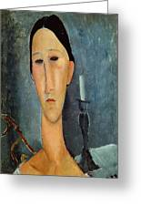 Hanka Zborowska With A Candlestick Greeting Card by Amedeo Modigliani