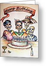 Happy Birthday Woman Skull Greeting Card by Heather Calderon