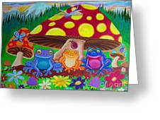 Happy Frog Meadows Greeting Card by Nick Gustafson