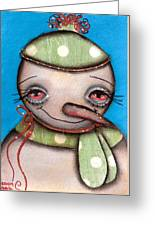 Happy Snow Man Greeting Card by  Abril Andrade Griffith