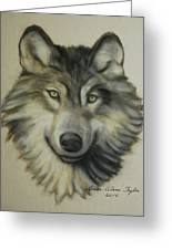 Happy Wolf Greeting Card by Linda Diane Taylor