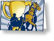 Harness cart horse racing Greeting Card by Aloysius Patrimonio