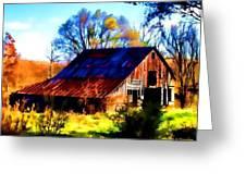 Harrison Barn Greeting Card by Kathy Tarochione