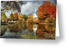 Harrisville New Hampshire - New England Fall Landscape White Steeple Greeting Card by Jon Holiday