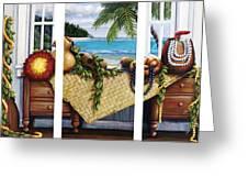 Hawaiian Still Life With Haleiwa On My Mind Greeting Card by Sandra Blazel - Printscapes