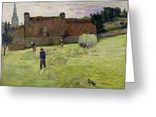 Haymaking In Brittany Greeting Card by Paul Gauguin