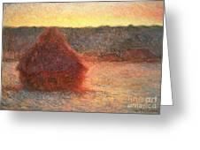 Haystacks At Sunset Greeting Card by Claude Monet