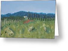 Haystacks Greeting Card by Maura Satchell