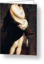 Helena Fourment In A Fur Wrap Greeting Card by Rubens