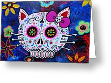 Hello Kitty Day Of The Dead Greeting Card by Pristine Cartera Turkus