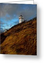Helnaes Lighthouse Greeting Card by Robert Lacy