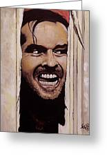 Here's Johnny Greeting Card by Tom Carlton