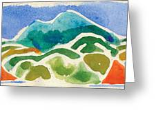 High Mountains And Meadows Greeting Card by Annie Alexander