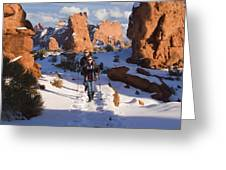 Hiking In Arches National Park Greeting Card by Utah Images
