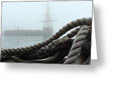 HMS Bounty In The Eastport Fog Greeting Card by Rick  Blood