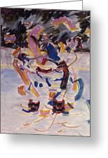Hockey Game Greeting Card by Ken Yackel