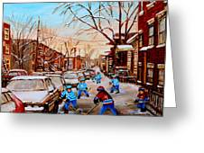 HOCKEY GAMEON JEANNE MANCE STREET MONTREAL Greeting Card by CAROLE SPANDAU