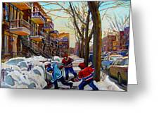 Hockey On De Bullion  Greeting Card by Carole Spandau