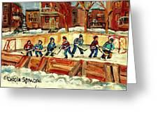 Hockey Rinks In Montreal Greeting Card by Carole Spandau