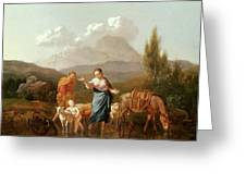 Holy Family At A Stream Greeting Card by Karel Dujardin