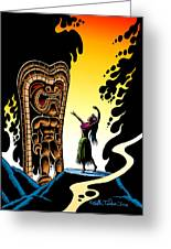 Homage To Tiki Greeting Card by Keith Tucker