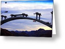 Hoover Dam Bridge Under Construction Greeting Card by Barbara Teller