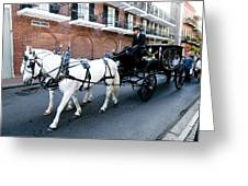 Horse Drawn Hearse Greeting Card by Bourbon  Street