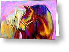 Horse Love Greeting Card by Karen Derrico