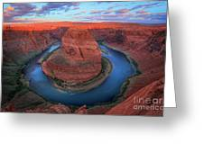 Horseshoe Bend Sunrise Greeting Card by Inge Johnsson