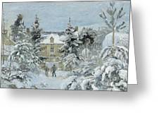 House at Montfoucault Greeting Card by Camille Pissarro