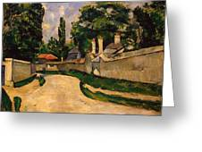 Houses Along A Road Greeting Card by Paul Cezanne