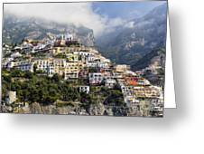 Houses Built On A Hillside Positano Italy Greeting Card by George Oze