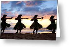 Hula At Sunset Greeting Card by David Olsen