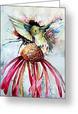 Humming Bird Greeting Card by Mindy Newman