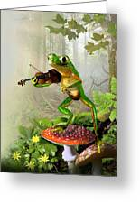 Humorous Tree Frog Playing A Fiddle Greeting Card by Regina Femrite