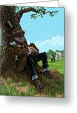 Hungry Bad Wolf In Field With Little Sheep Greeting Card by Martin Davey