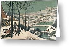 Hunters in the Snow Greeting Card by Pieter the Elder Bruegel