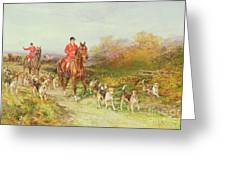 Hunting Scene Greeting Card by Heywood Hardy