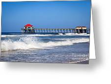 Huntington Beach Pier Photo Greeting Card by Paul Velgos
