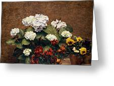 Hydrangeas And Wallflowers And Two Pots Of Pansies Greeting Card by Henri Jean Fantin-Latour