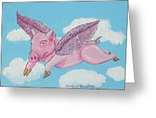 If Pigs Could Fly Greeting Card by Gordon Wendling