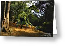 Iguanodon In The Jungle Greeting Card by Frank Wilson