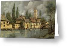 Il Borgo Sul Fiume Greeting Card by Guido Borelli